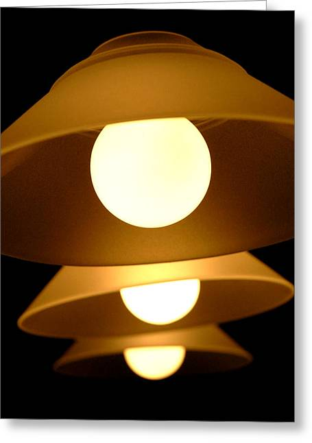 Three Lights Greeting Card by Lena Wilhite