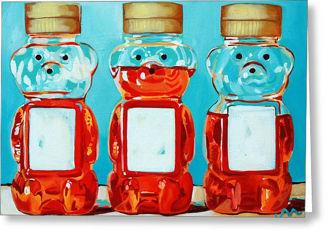 Kitchens Greeting Cards - Three Little Bears Greeting Card by Jayne Morgan