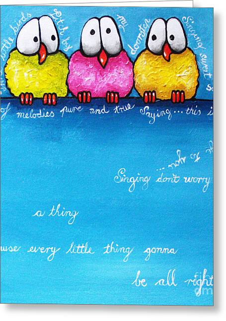 Blue Bird Greeting Cards - Three Little Birds Greeting Card by Lucia Stewart