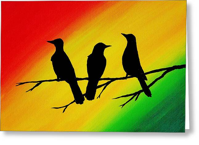 Little Birds Greeting Cards - Three Little Birds Original Painting Greeting Card by Michelle Eshleman
