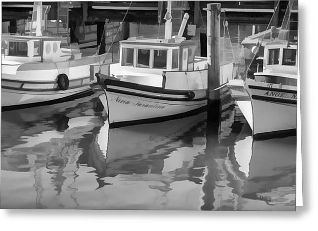 Boats At Dock Greeting Cards - Three Little Boats Black and White Greeting Card by Scott Campbell