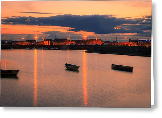 Sunset Prints Of Ireland Greeting Cards - Three little Boats  Greeting Card by John Hurley