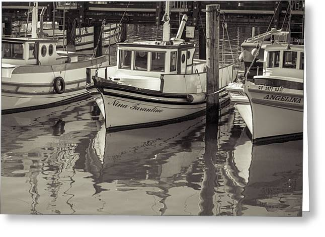 Boats At Dock Greeting Cards - Three Little Boats Sepia Greeting Card by Scott Campbell