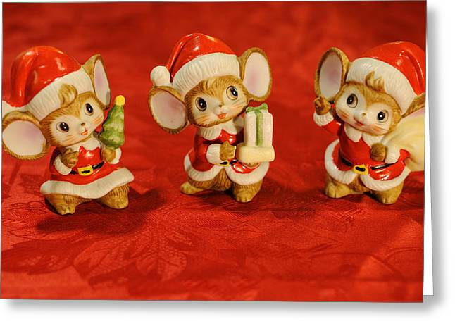 Christmas Art Greeting Cards - Three Little Christmas Mice Greeting Card by Luke Moore