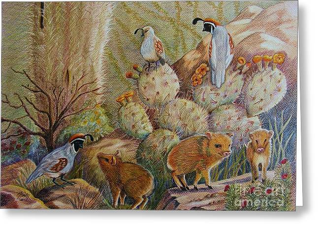 Pear Art Drawings Greeting Cards - Three Little Javelinas Greeting Card by Marilyn Smith