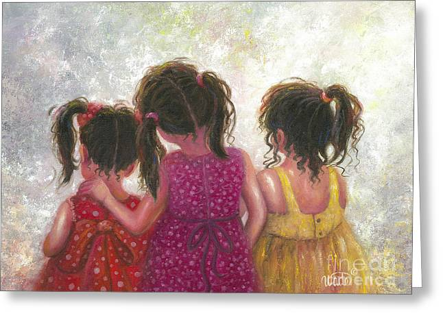 Vickie Wade Paintings Greeting Cards - Three Little Sweet Pea Sisters Greeting Card by Vickie Wade