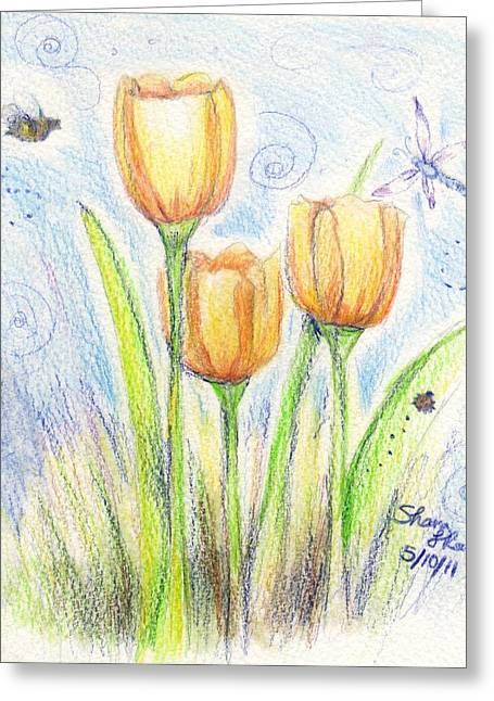 Easter Flowers Drawings Greeting Cards - Three little tulips Greeting Card by Shana Rowe