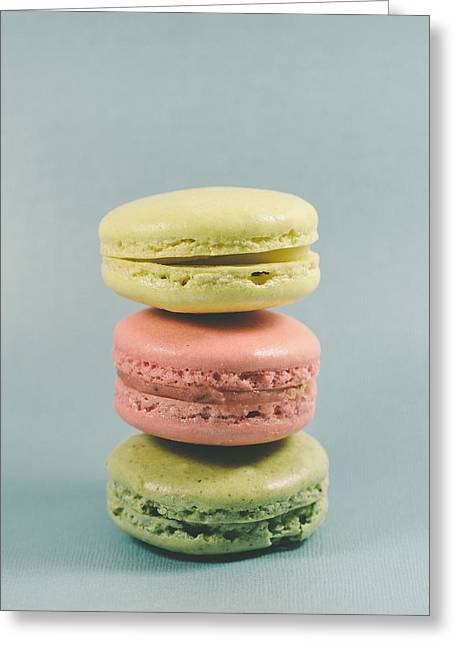 Still Life Photographs Greeting Cards - Three macarons Greeting Card by Nastasia Cook