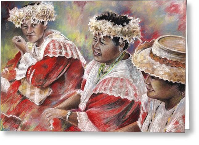 Festivities Drawings Greeting Cards - Three Mamas from Tahiti Greeting Card by Miki De Goodaboom