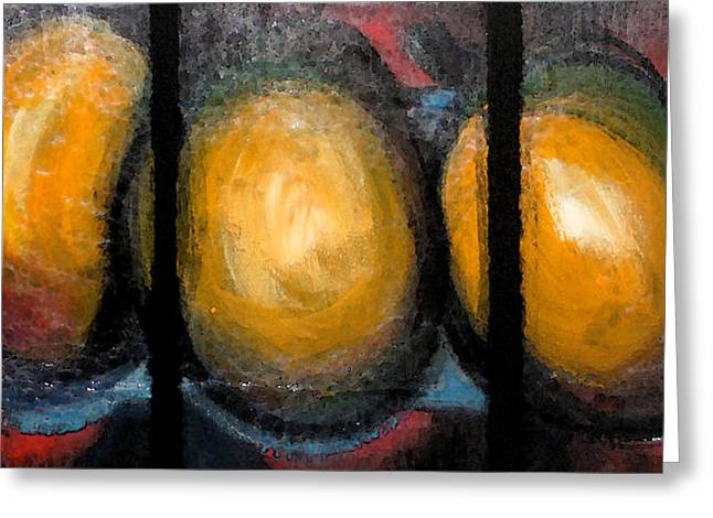 Mango Paintings Greeting Cards - Three mangoes Greeting Card by Antonio Lanza