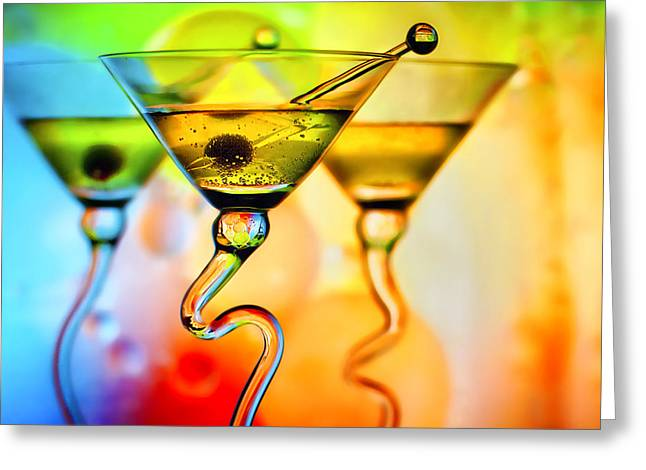 Glass Table Reflection Greeting Cards - Three Martinis with Colorful Background Greeting Card by Judy Kennamer