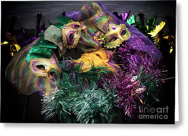 Gallery Three Greeting Cards - Three Masks Greeting Card by John Rizzuto
