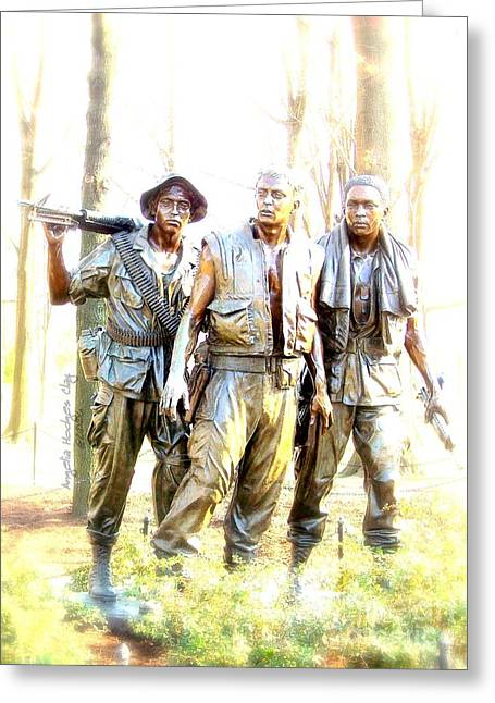 Hope You Enjoy . Greeting Cards - Three Men in Bronze Greeting Card by Angelia Hodges Clay