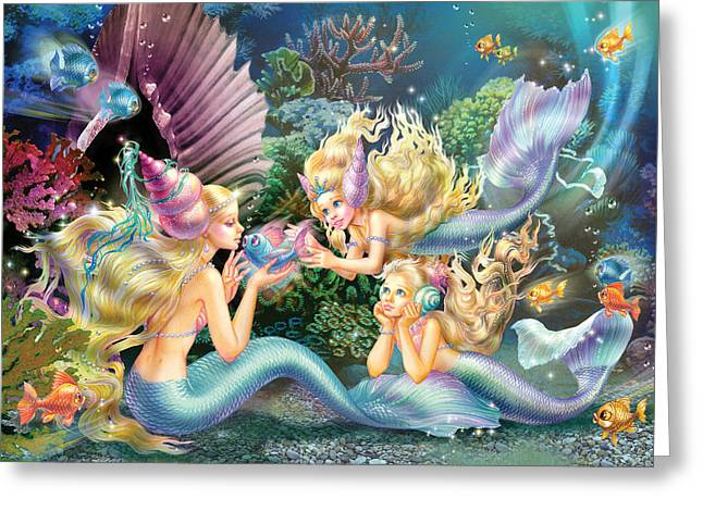 Magical Greeting Cards - Three Mermaids Greeting Card by Zorina Baldescu