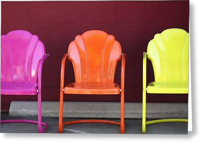 Take Down Greeting Cards - Three Metal Chairs Greeting Card by Art Block Collections