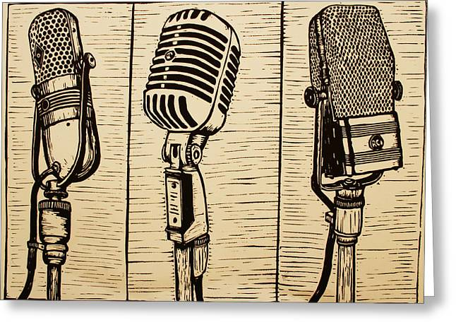 Linocut Greeting Cards - Three Microphones Greeting Card by William Cauthern
