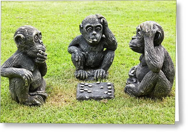 Sculpture Ideas Greeting Cards - Three monkeys playing checkers Greeting Card by Tosporn Preede