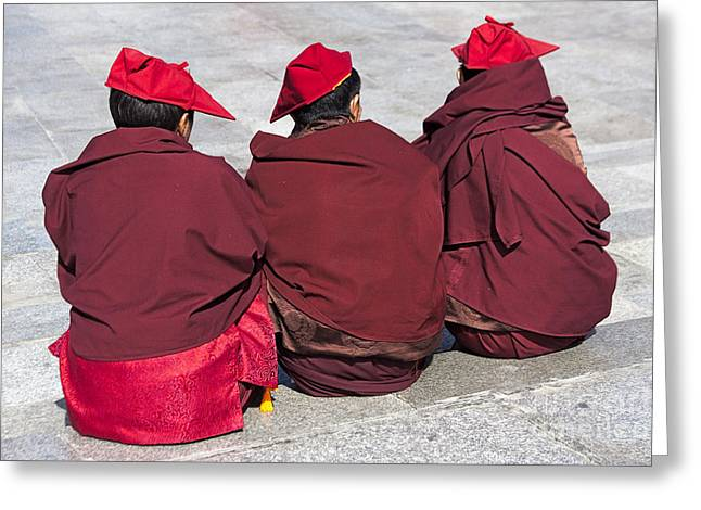 Tibetan Buddhism Greeting Cards - Three Monks Greeting Card by Hitendra SINKAR