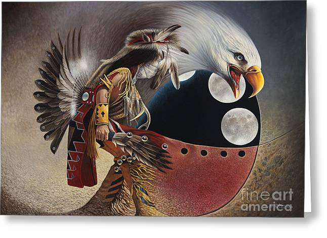 Eagle Paintings Greeting Cards - Three Moon Eagle Greeting Card by Ricardo Chavez-Mendez