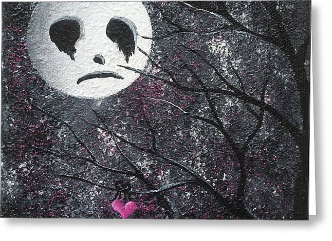 Man In The Moon Paintings Greeting Cards - Three Moons Series - Man In The Moon Greeting Card by Oddball Art Co by Lizzy Love