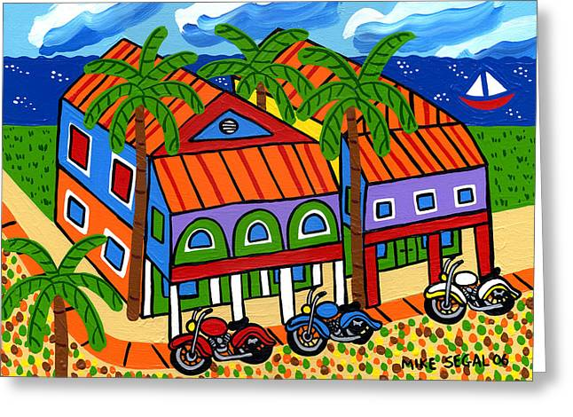 Best Sellers -  - Cedar Key Greeting Cards - Three Motorcycles at Cedar Key Greeting Card by Mike Segal