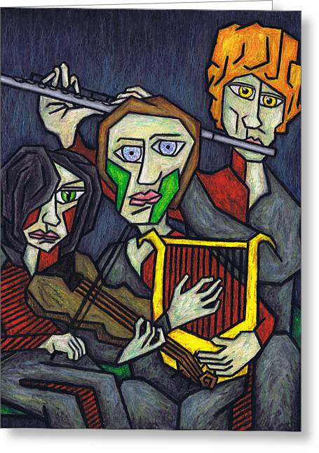 Snakes Pastels Greeting Cards - Three Musicians Greeting Card by Kamil Swiatek