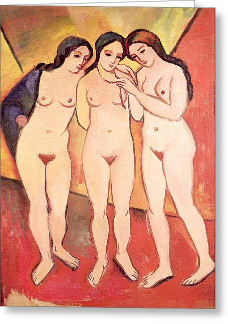 Expressionist Girl Greeting Cards - Three Naked Girls Greeting Card by August Macke