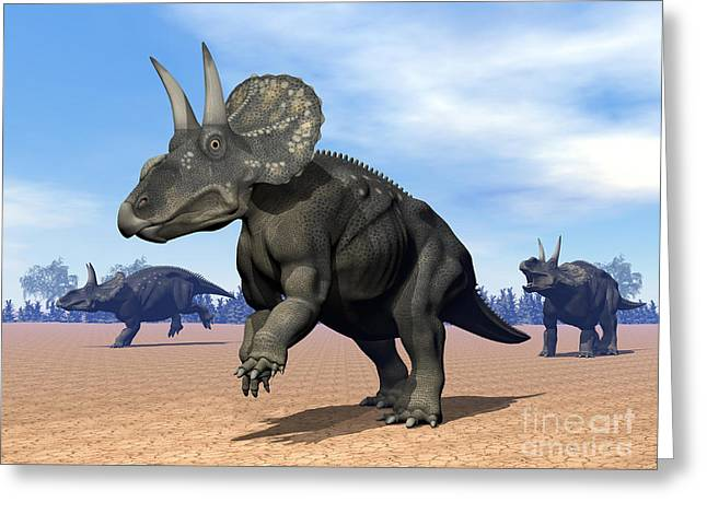 Three Nedoceratops In The Desert Greeting Card by Elena Duvernay