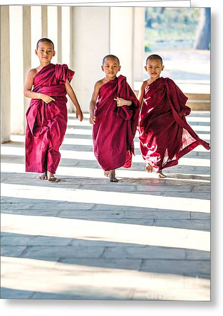 Division Greeting Cards - Three novice monks walking - Myanmar Greeting Card by Matteo Colombo