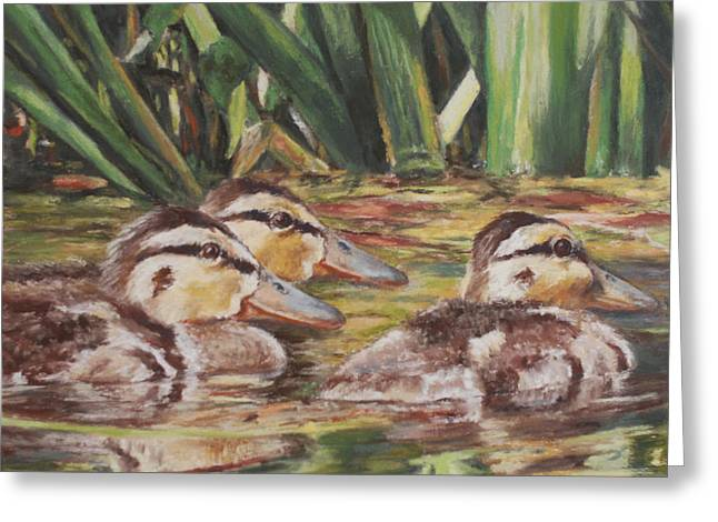 Ducklings Pastels Greeting Cards - Three of a Kind Greeting Card by Debbie Hughbanks