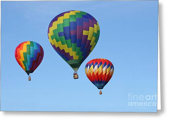 Three Hot Air Balloons Greeting Cards - Three of a Kind Greeting Card by Jayne Carney