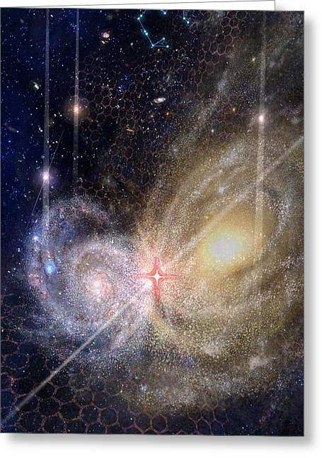 Celestial Spaces Greeting Cards - Three of Wands/Stars - Artwork for the Science Tarot Greeting Card by Janelle Schneider