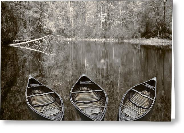 Tennessee River Greeting Cards - Three Old Canoes Greeting Card by Debra and Dave Vanderlaan