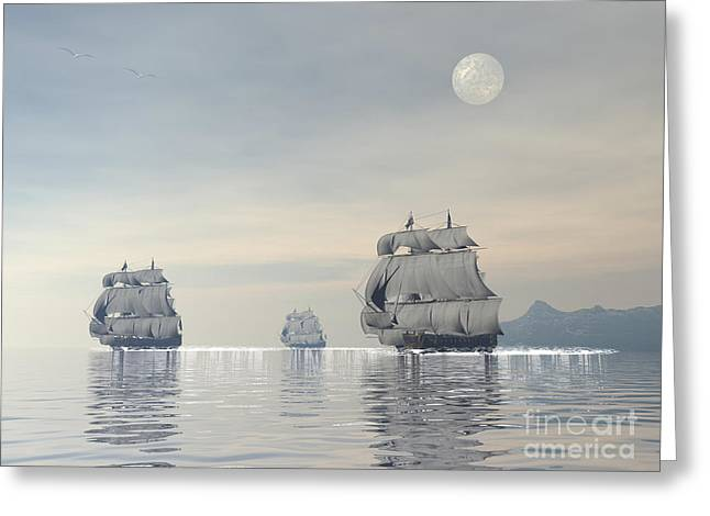 Sea Moon Full Moon Greeting Cards - Three Old Ships Sailing In The Ocean Greeting Card by Elena Duvernay