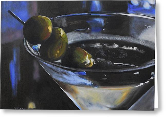 Three Olive Martini Greeting Card by Donna Tuten