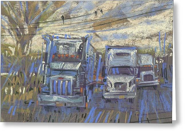 Big Pastels Greeting Cards - Three on a Wire Greeting Card by Donald Maier