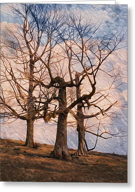 Long-lived Greeting Cards - Three On The Hill - Color Greeting Card by Jack Zulli