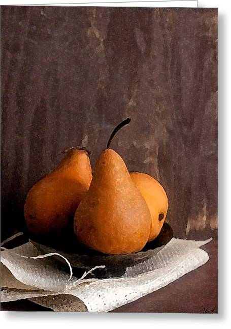Pear Art Drawings Greeting Cards - Three Pairs Greeting Card by Cole Black