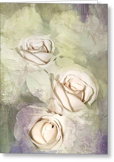 Three Roses Greeting Cards - Three Pale Roses Greeting Card by Diane Schuster