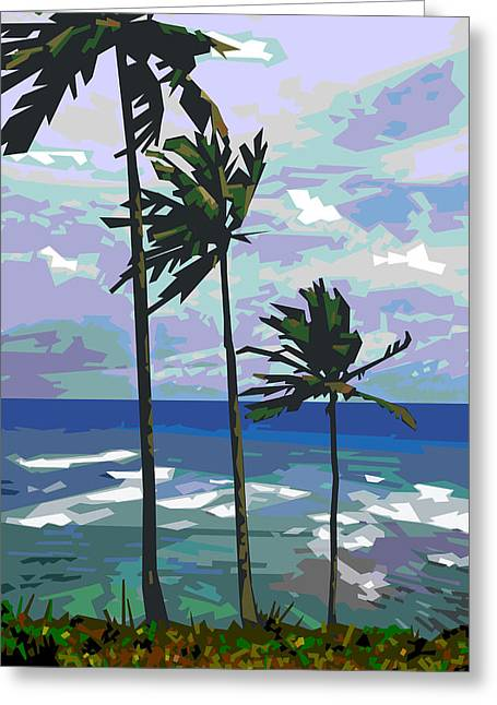 Coconut Palm Tree Greeting Cards - Three Palms Greeting Card by Douglas Simonson