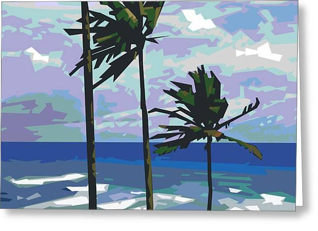 Three Palms Greeting Card by Douglas Simonson