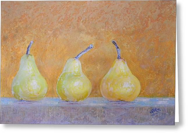 Adel Nemeth Greeting Cards - Three Pears Greeting Card by Adel Nemeth