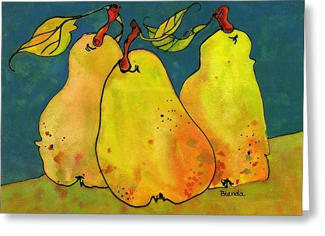 Pears Greeting Cards - Three Pears Art  Greeting Card by Blenda Studio
