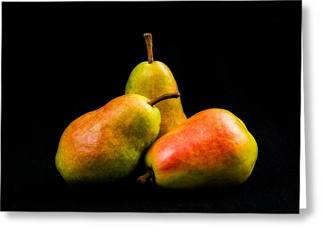 Three Pears Greeting Card by Jon Woodhams