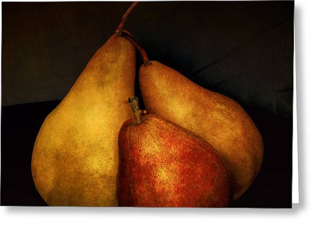 Edibles Greeting Cards - Three Pears Greeting Card by Julie Palencia