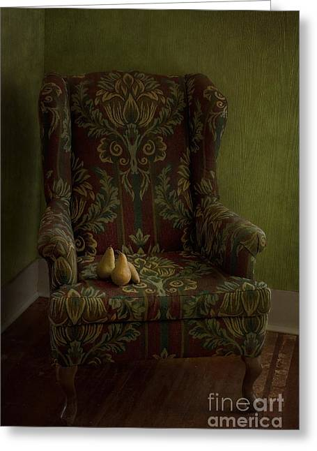 Brown Pears Greeting Cards - Three Pears Sitting In A Wing Chair Greeting Card by Priska Wettstein