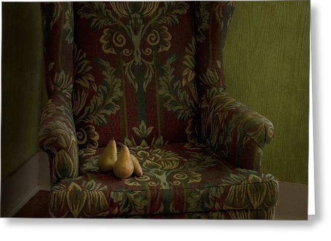 three pears sitting in a wing chair Greeting Card by Priska Wettstein