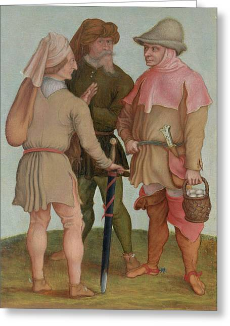 Conversation Greeting Cards - Three Peasants, 16th Or 17th Century Oil On Panel Greeting Card by Albrecht Durer or Duerer
