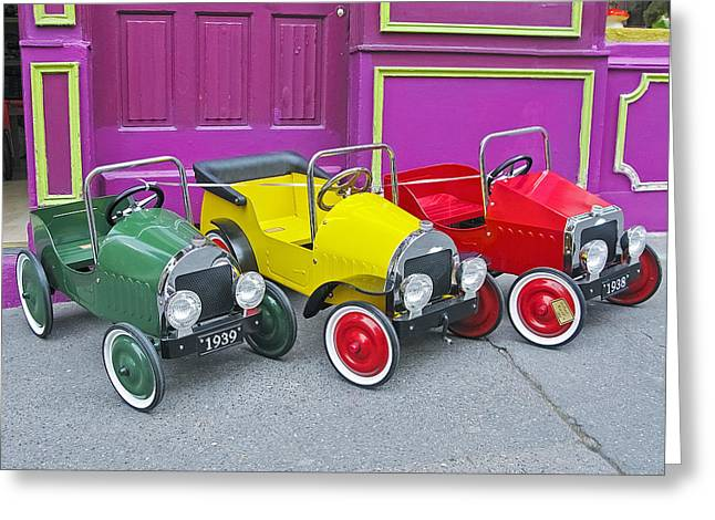 Toy Shop Greeting Cards - Three Pedal Cars Greeting Card by David Thompson