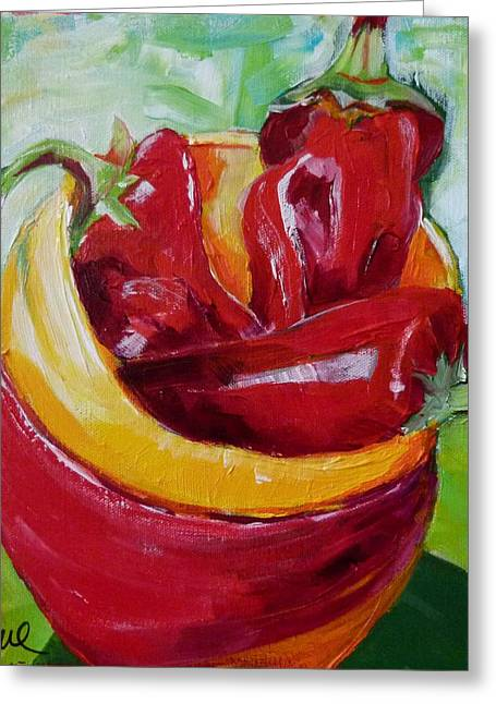 Three Peppers Greeting Card by Suzanne Willis